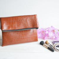 Brown fold over clutch, zipped clutch, foldover clutch, fold over purse, zipper purse, bridesmaids clutch, wedding evening bag, faux leather