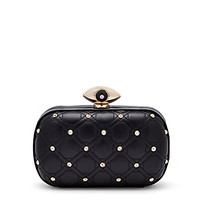 Evil Eye Studded Quilted Leather Minaudiere