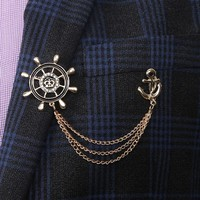 Fashion Vintage Rudder Anchor Chain Jewelry Gift Lapel Pin Badge Suit Collar Clothes Accessories Brooch For Men Rudder