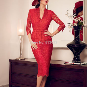 2017 Mother Of The Bride Dresses Sheath 3/4 Sleeves Red Lace Knee Length Short Mother Dresses Evening Dresses For Weddings