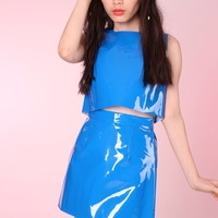 Glitters For Dinner — Made To Order - Primary Blue PVC Motel 2 piece Set