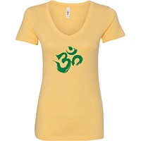Green Brushstroke AUM Ideal V-neck Yoga Tee Shirt