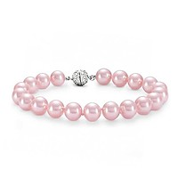Hand Knotted Strand Fashion Pale Pink Simulated Pearl Bracelet 10MM