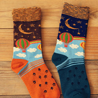 Hot Balloon in Sky Socks Set (2 pairs)