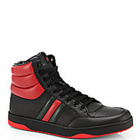 Gucci - Contrast Padded Leather High-Top Sneakers - Saks Fifth Avenue Mobile