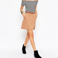 New Look | New Look Belted Aline Mini Skirt at ASOS
