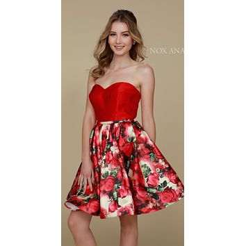 Sweetheart Neckline Floral Printed Skirt Strapless Homecoming Dress Red