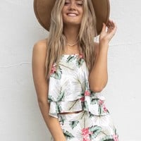 Pool Day Cream & Green Palm Floral Set