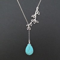 Turquoise, Stone, Sterling silver, Chain, Sideways, Branch, Necklace