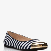 Striped Cap Toe Ballet Flats