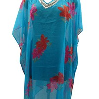 Mogul Women's Caftan Blue Printed Tunic Sequins Beach Cover Up