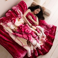 Flowers Red Blanket Raschel blanket winter gift thickened double layer blanket super soft thick Throw blanket 150x200cm