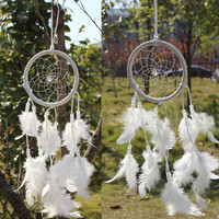 Indoor outdoor home decor Dreamcatcher Circular With White Feathers Wall Hanging Decoration Craft Dreamcatcher Campanula