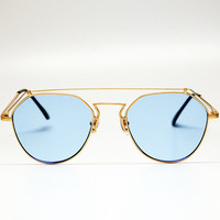 YHF Stephanie Matte Blue Sunglasses