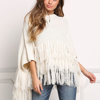 Ivory Thick Knit Fringe Poncho Sweater Top
