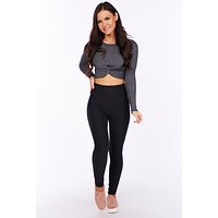 Let's Knot Talk About It Long Sleeve Crop (Black/White)