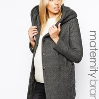 New Look Maternity   New Look Maternity Salt and Pepper Infinity scarf Coat at ASOS