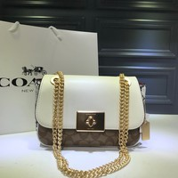 hcxx 2014 Coach Cassidy Rotating twisting chain cuboid bag White