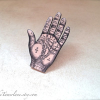 Palmistry Palm Reading Hand Fortune Teller Button Occult Pin Gypsy Witchcraft Pendant