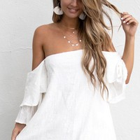 The Premiere White Ruffle Sleeve Dress