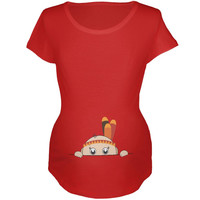 Peeking Baby Thanksgiving Indian Red Maternity Soft T-Shirt