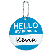 Kevin Hello My Name Is Round ID Card Luggage Tag