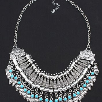 Silver Turquoise Beaded Ornate Necklace