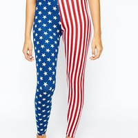 American Apparel Spandex Retro Leggings In American Flag Print