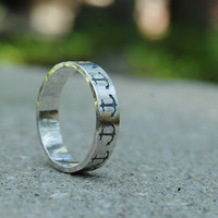 Anchor - Sterling Silver Ring Band - Hand Forged and Hand Stamped - Custom Size