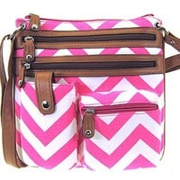 Small Chevron Print Hipster Messenger Bag Cross Body Purse (Fuchsia)