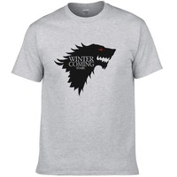 2017 Game Of Thrones T Shirt Men Wolf Printed Fashion Tops Winter is coming Man Summer Style Clothing Cool Tee #077