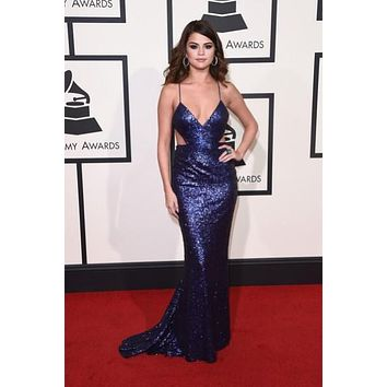 Selena Gomez Blue Sparkly Sequin Backless Prom Dress Grammys 2016 Red Carpet