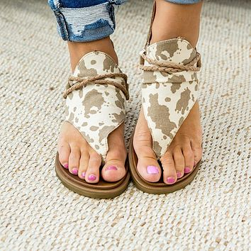 Very G Angelika Tan Cow Sandals