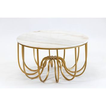 """32"""" Fleur Gold/White Marble Table- Metalle Collection"""