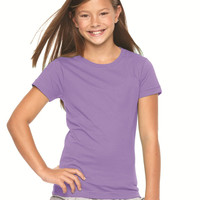 LAT - Girls' Fine Jersey Longer Length T-Shirt-Available in 18 Colors and 5 Sizes.  Perfect Basic Back to School Shirt for Girls-Great Price So You Can Buy Several!