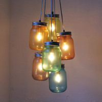 Over The Rainbow Mason Jar Chandelier - Modern Industrial Swag - Handcrafted UpCycled BootsNGus Hanging Pendant Lighting Fixture