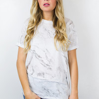 Marble Rolled Cuff Tee