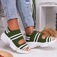 Knitted sandals Comfortable elastic platform sports fish mouth shoes