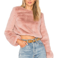 Lovers + Friends x REVOLVE Teagan Faux Fur Sweater in Rosehip | REVOLVE