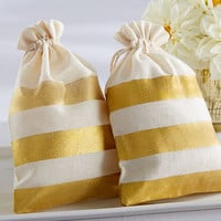 Gold Stripe Muslin Bags (Set of 12)