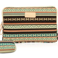 kayond Bohemian Style Canvas Sleeve for 13-13.3 Inch Laptop with Storage Bag