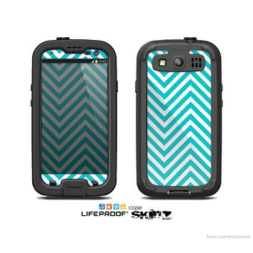 The Trendy Blue & White Sharp Chevron Pattern Skin For The Samsung Galaxy S3 LifeProof Case