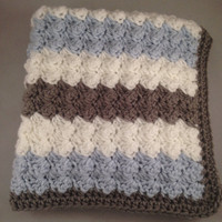 Blue, White and Grey Striped Baby Blanket *Car seat size*