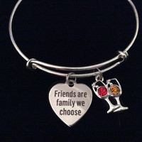 Friends are Family We Choose Silver Expandable Charm Bracelet Wine Glasses Adjustable Bangle BFF Gift