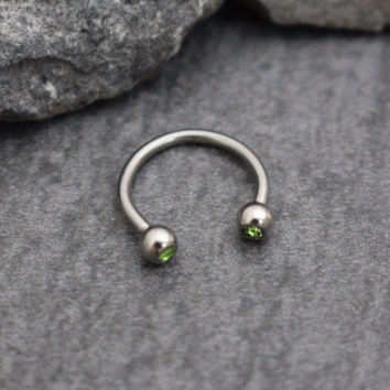 Horseshoe Barbell with Green Crystal