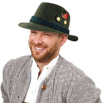 """""""German Hunter"""" 100% Wool High Brimmed Hat with Rope & Feather"""