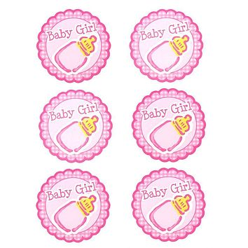 Baby Girl Milk Bottle Seal Paper Stickers, Light Pink, 2-Inch, 12-Count