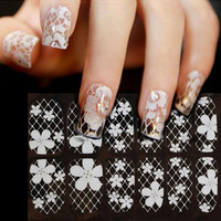1 sheet 3D French Style White Bow Lace Nail Art Sticker Decal Manicure Tip nail art decoration tools