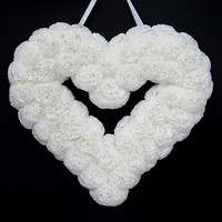 Wedding wreath- white heart- white wedding decor- valentine heart wreath- birthday gift- christening wreath- christening decoration