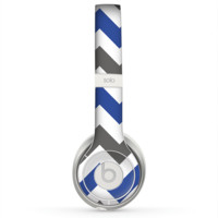 The Gray & Navy Blue Chevron Skin for the Beats by Dre Solo 2 Headphones